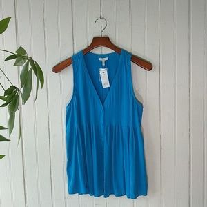 NWT Joie blue silk pleated v neck sleeveless top S